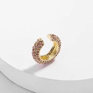 Anthropologie Paved Crystal Ear Cuff - Pink Single